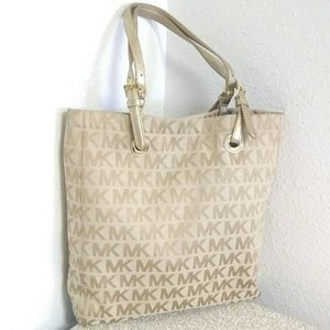 Michael Kors Gold Canvas Signature Leather Bag